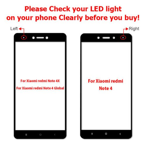full glass redmi note 4x LED and redmi note 4 LED