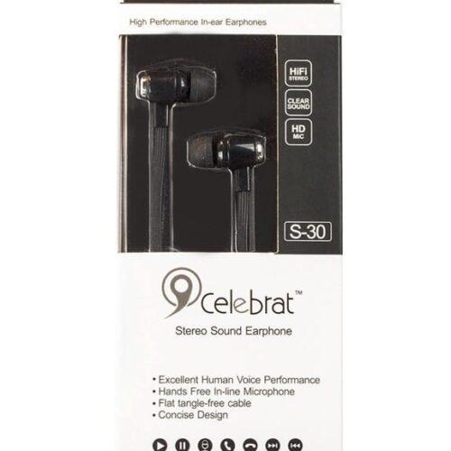 CELEBRAT Earphones με μικρόφωνο S-30, on off, 10mm, 1.2m flat, μαύρα