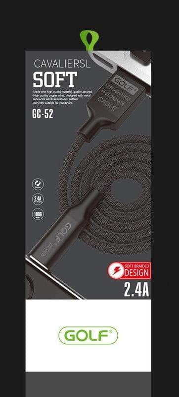 GOLF Braided USB 2.0 Cable USB-C male - USB-A male Μαύρο 1m (GC-52T-BK)