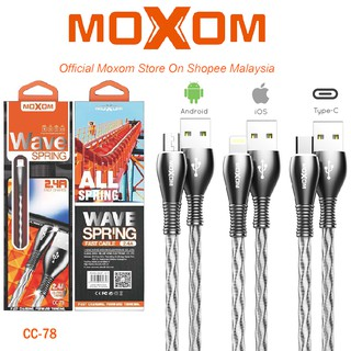 Moxom wave spring Braided USB micro, type-c,lightning Cable Μαύρο 1m (CC-78)