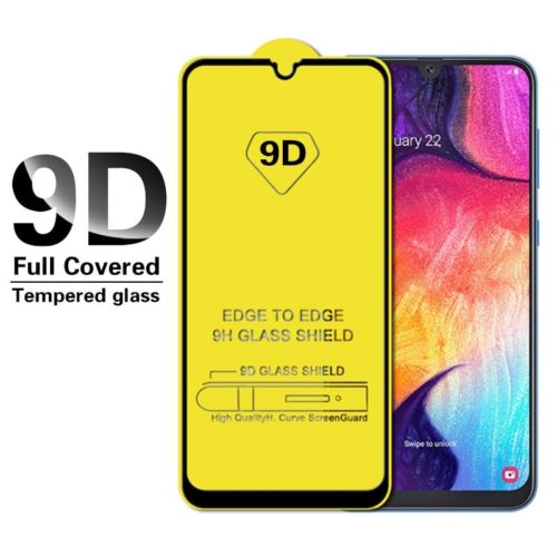 9D Full Cover Tempered Glass - Black- (Galaxy A20)