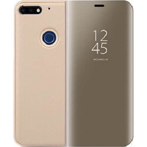Clear View Stand Cover gold (Huawei Y6 2018)