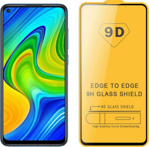 9D Full Face Tempered Glass Black (Redmi Note 9)